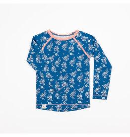 ALBA of Denmark Blauwe t-shirt met kleine witte bloemetjes