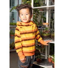 ALBA of Denmark Hoodie trui uit velours met geel, oranje bruine strepen