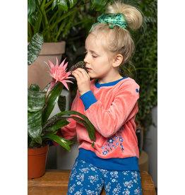 ALBA of Denmark Roze zachte velours trui met bloemetjes