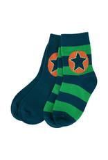 Villervalla 2-pack sokken (1 effen groen en 1 gestreept)