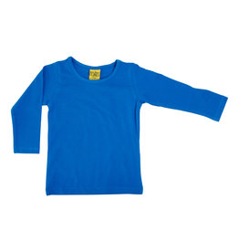 Duns Effen fel blauwe unisex t-shirt met lange mouwen