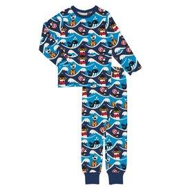 Maxomorra Katoenen unisex pyjama met oceaan print