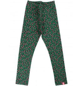 Danefae Warme groene winter leggings met bloemetjes