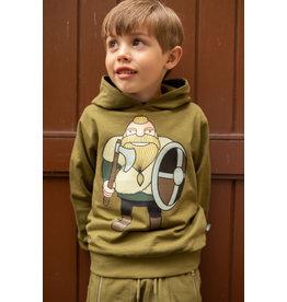 Danefae Kaki groene hoodie met viking Harald