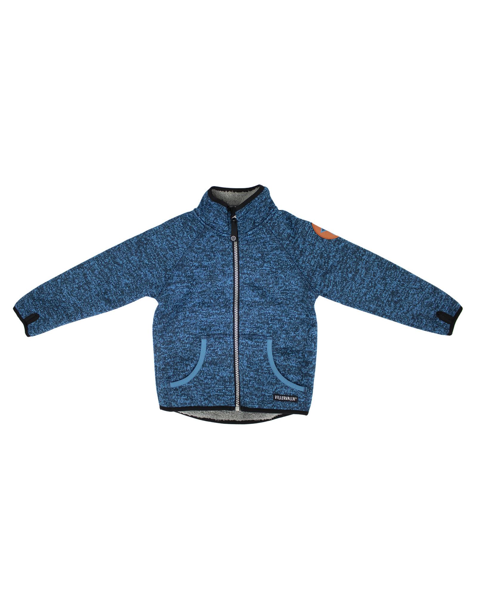 Villervalla Blauwe warme windstopper trui/jas met rits