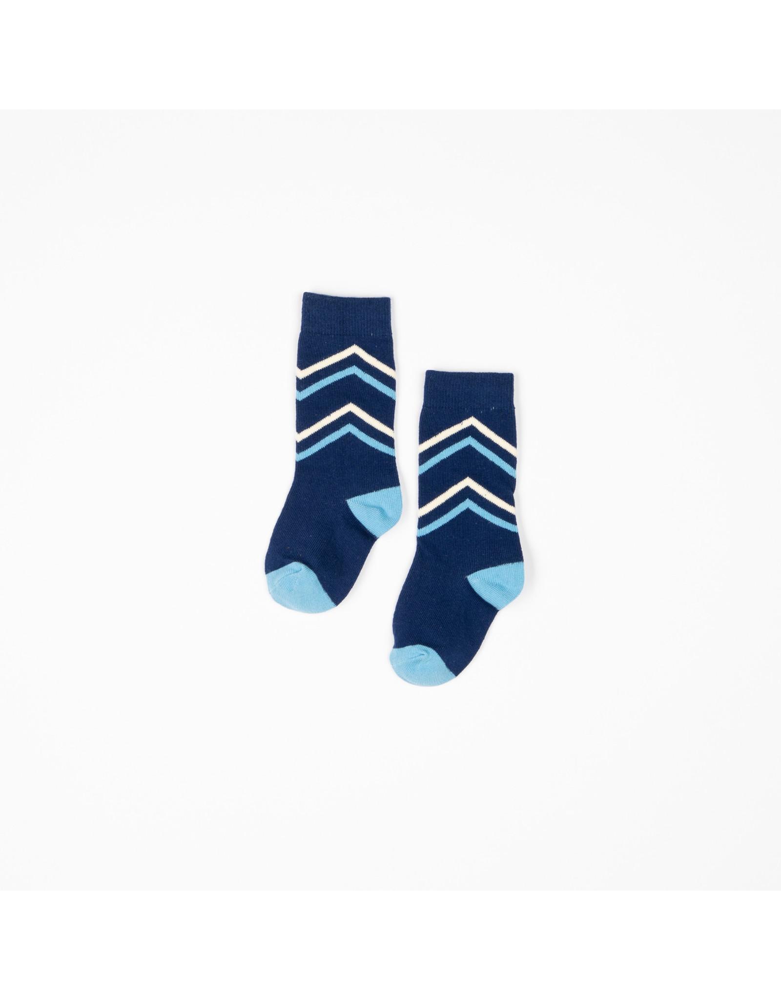 ALBA of Denmark Donker blauwe kniekousen met kleine v-tekening