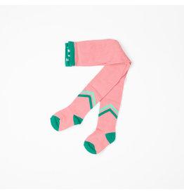 ALBA of Denmark Roze kousenbroek met groene V-tekening