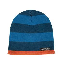 Villervalla Blauw gestreepte warme wintermuts (binnenkant fleece)