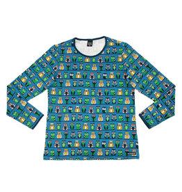 Villervalla VOLWASSENEN blauwe t-shirt met uiltjes