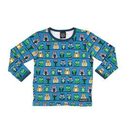 Villervalla Blauwe t-shirt met uiltjes