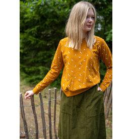Danefae VOLWASSENEN Mosterd kleurige trui met kleine bloemetjes