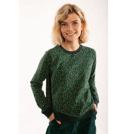 Danefae VOLWASSENEN Zwart/Groene trui met kleine bloemetjes