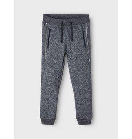Name It Blauw grijs gemeleerde jogging broek met ritsen