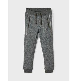 Name It Groen grijs gemeleerde jogging broek met ritszakken