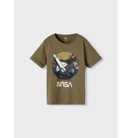 Name It Kaki groene t-shirt met NASA bedrukking