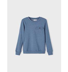 Name It Basis zachte blauwe trui met borstzakje
