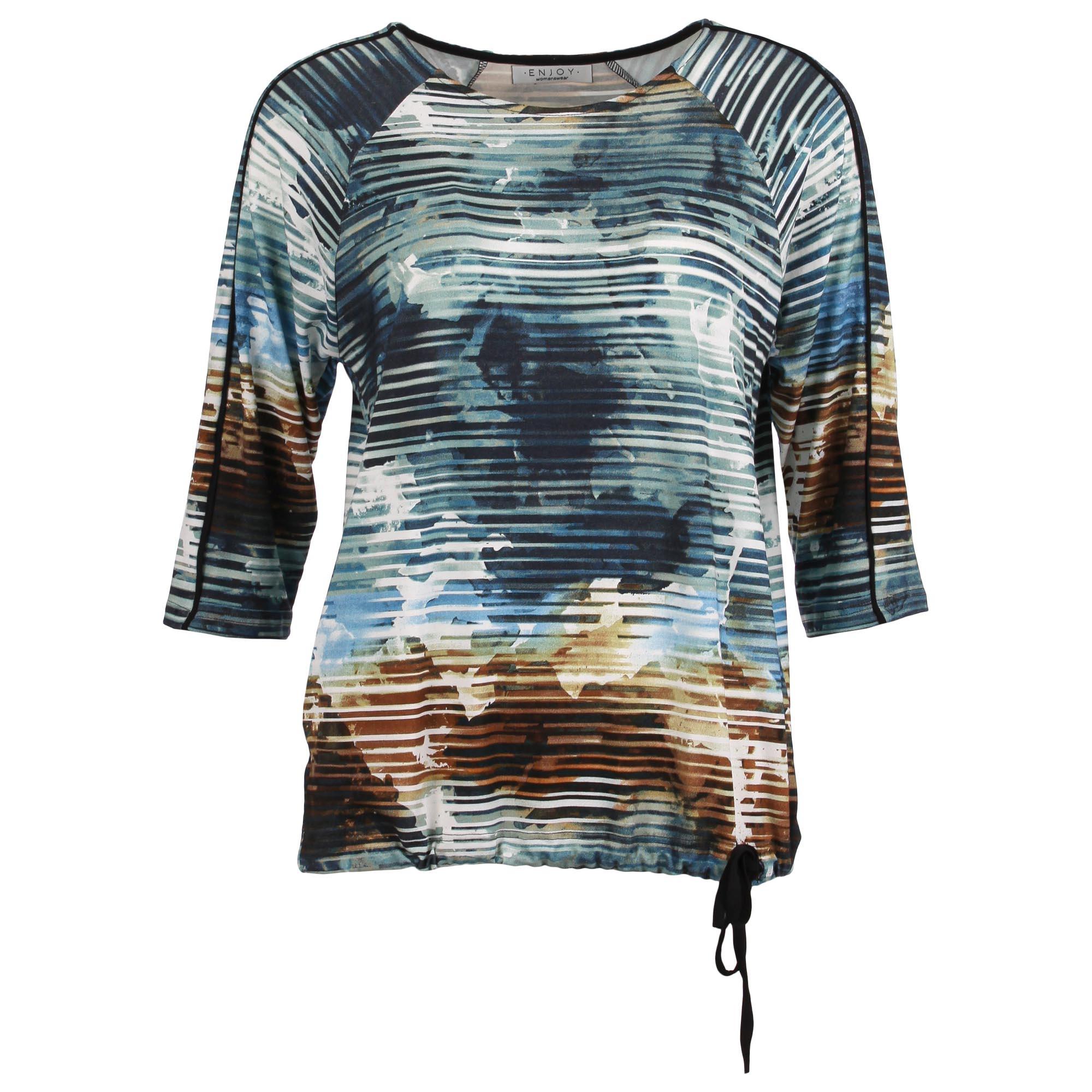 Enjoy Dames Shirt 3/4 Mouw Batik Strepen 880057-1