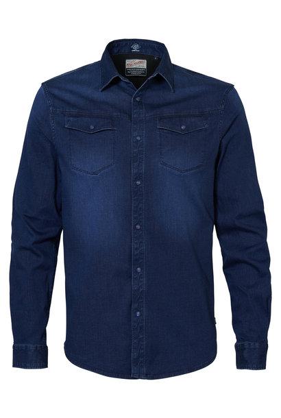 Petrol Heren Overhemd Jeans M-3000-SIL4090