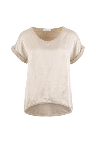 Enjoy Dames Shirt KM V-hals 2 materialen 122206