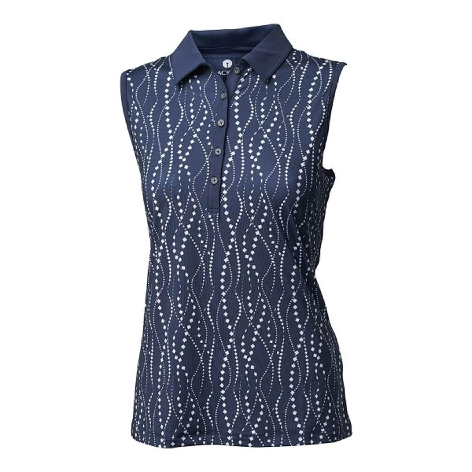 Backtee Backtee Ladies Printed Qd Uv Polo Top blauw XL