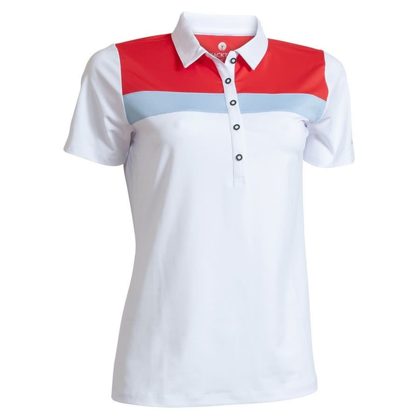Backtee Backtee Ladies Sports Qd Uv Polo wit/rood/lblauw S