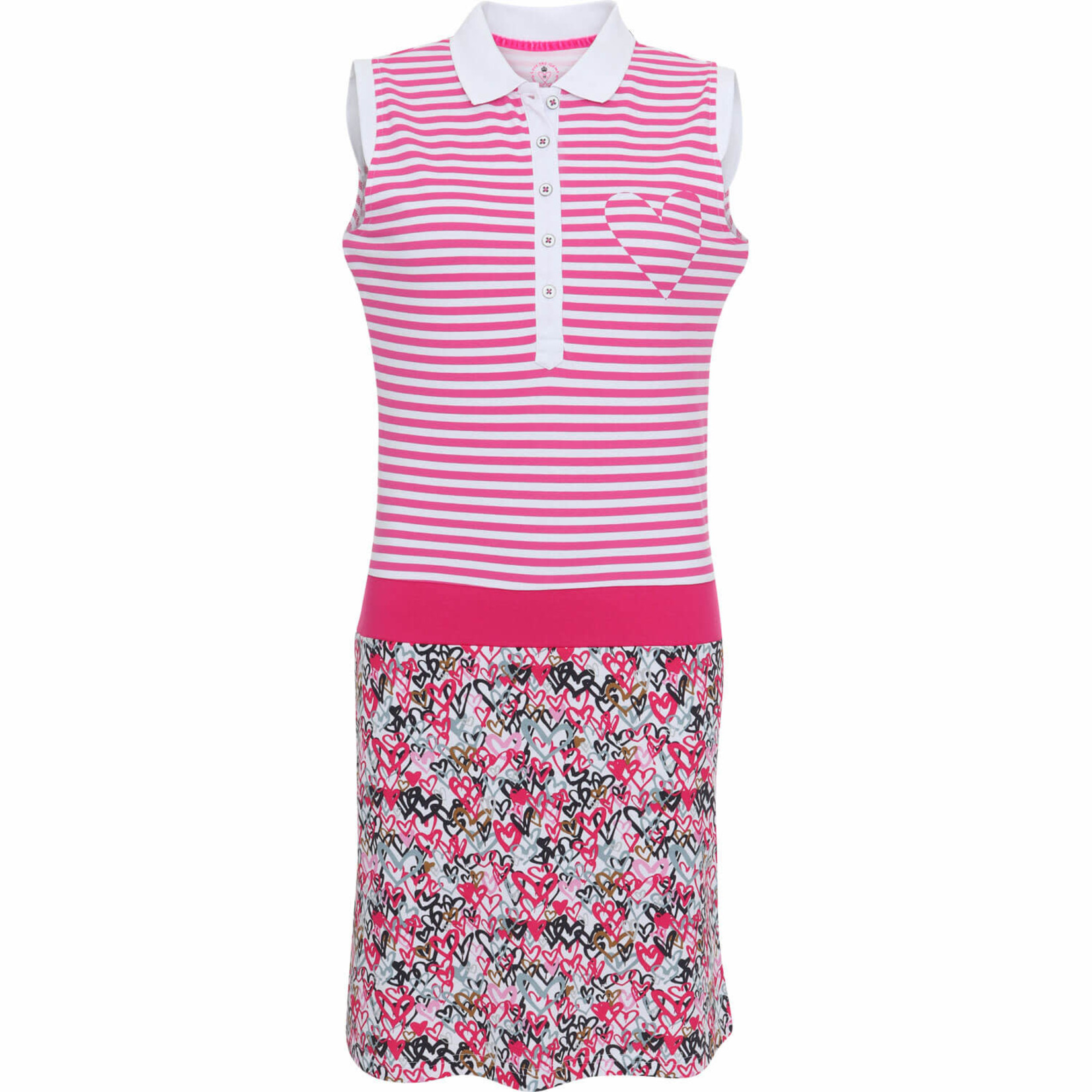 Girls Golf Girls Golf Dress, Love Is In The Air pink/black/hearts S
