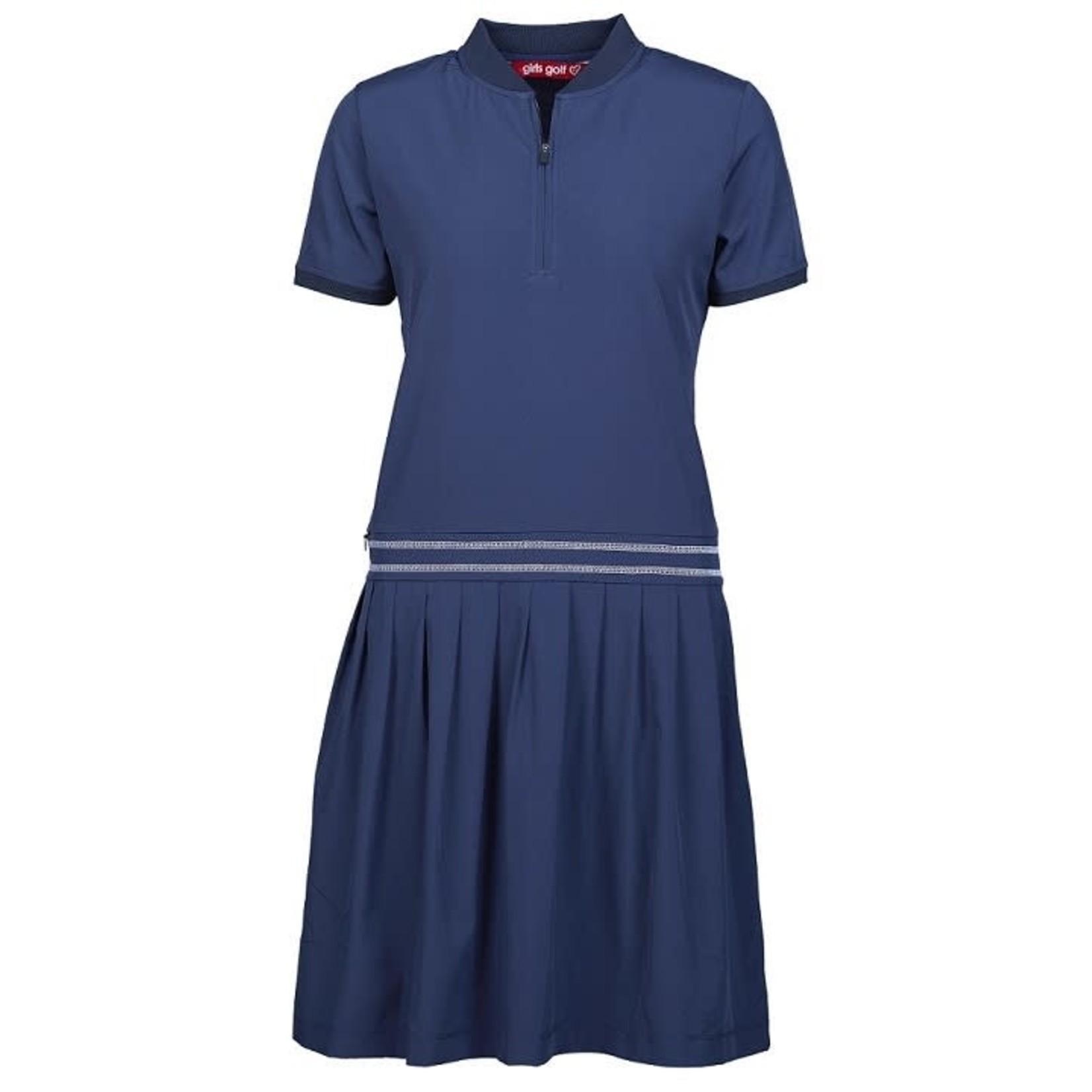 Girls Golf Girls Golf Polo Dress - Navy Techy XL