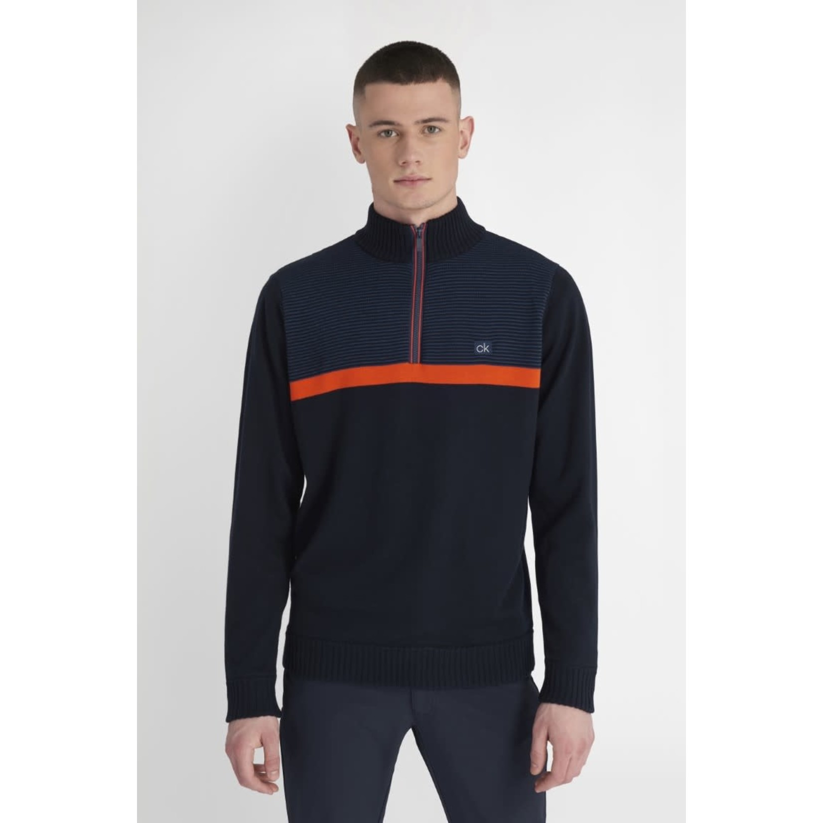 Calvin Klein Calvin Klein Magnet Half Zip Lined Sweater - Navy/Blaze