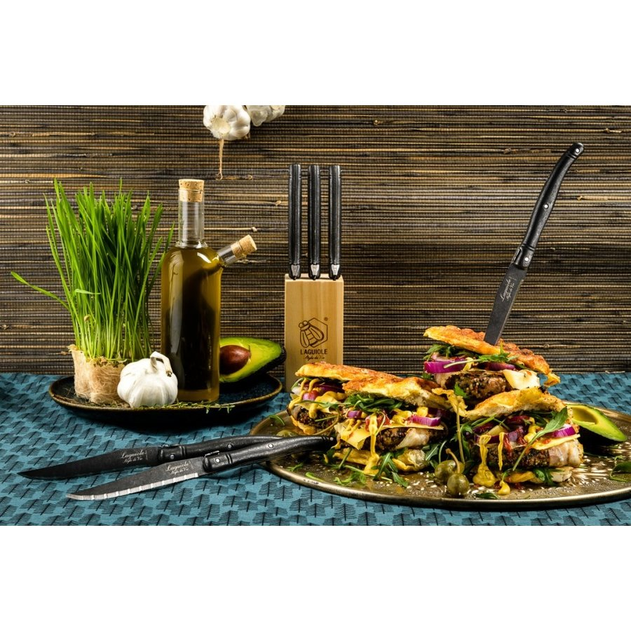 Laguiole Premium Line Steakmessen Black Stonewash-2