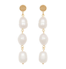 Eline Rosina Statement Freshwater Pearl earrings in gold plated sterling silver