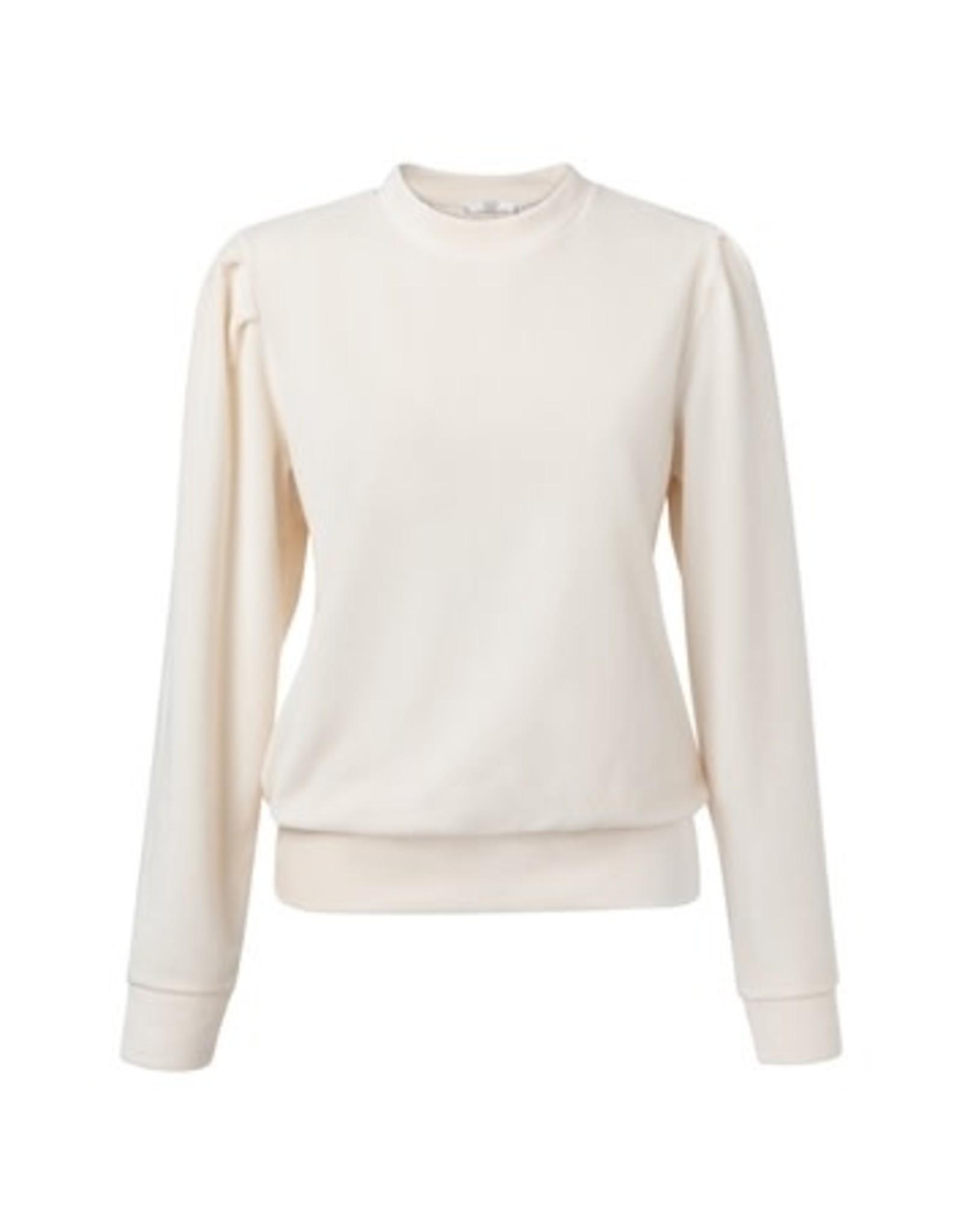 YaYa Velvet Sweater with puff Cream
