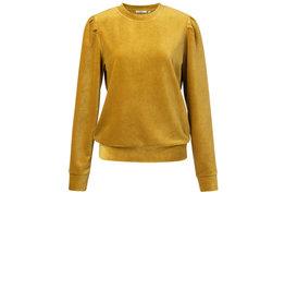 YaYa Velvet sweater with puff mustard gold