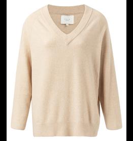 YaYa 1000338-023 V-neck sweater beige