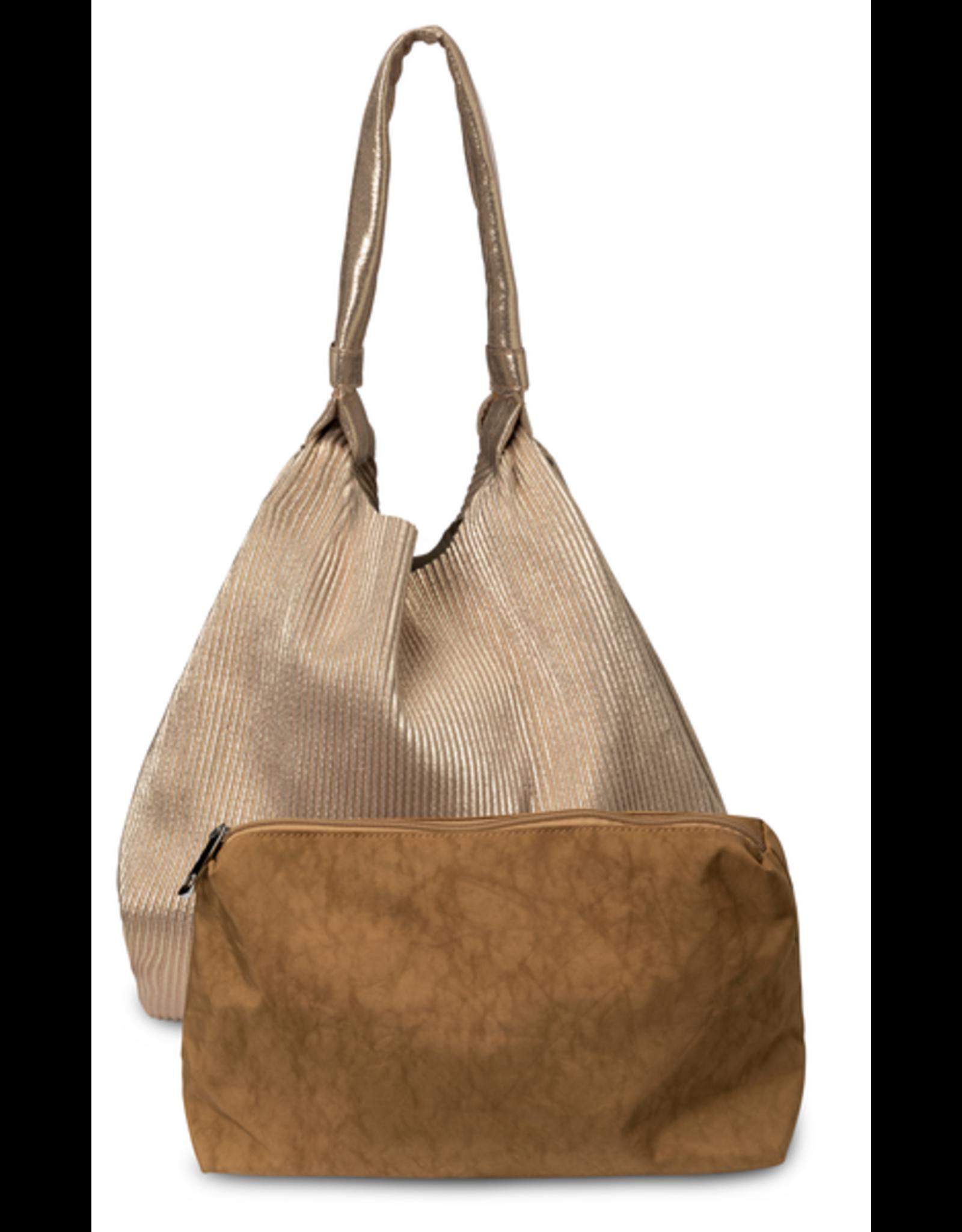 YaYa 131977-024 Golden pleated bag