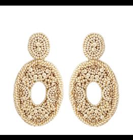 Beads Beige statement earrings