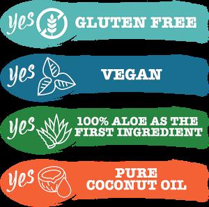 Yes vegan, yes pure aloë vera, yes gluten free