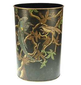 Black metal umbrella stand with beautiful bird decoration - hand painted