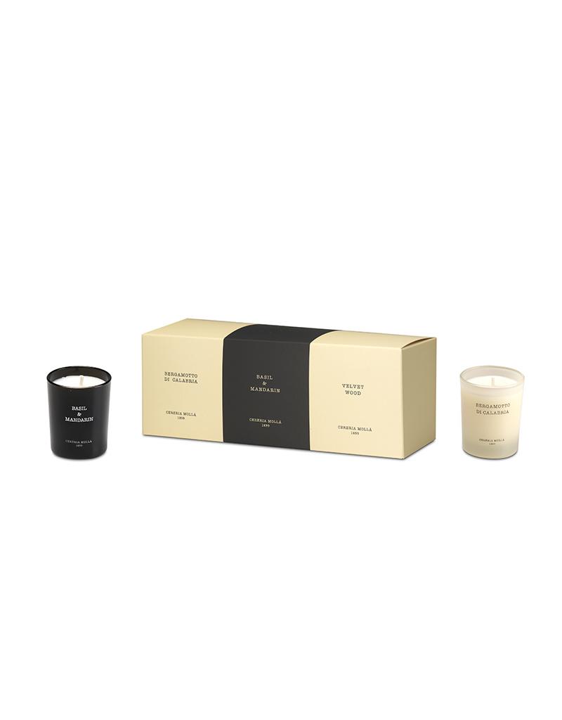 Mini Scented Candle Gift Set 3 X 70 G Bergamot Basil Mandarin Velvet Wood Curiosa Cabinet