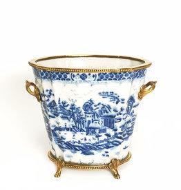 Blue white porcelain planter pot with brass details