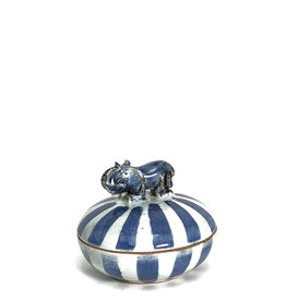Elephant striped blue-white citrus-scented candle box
