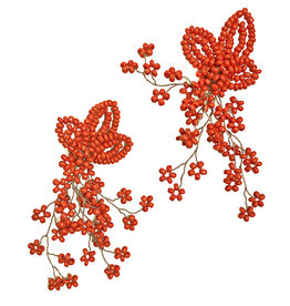 Agata Treasures Virginia long coral red pendant earrings