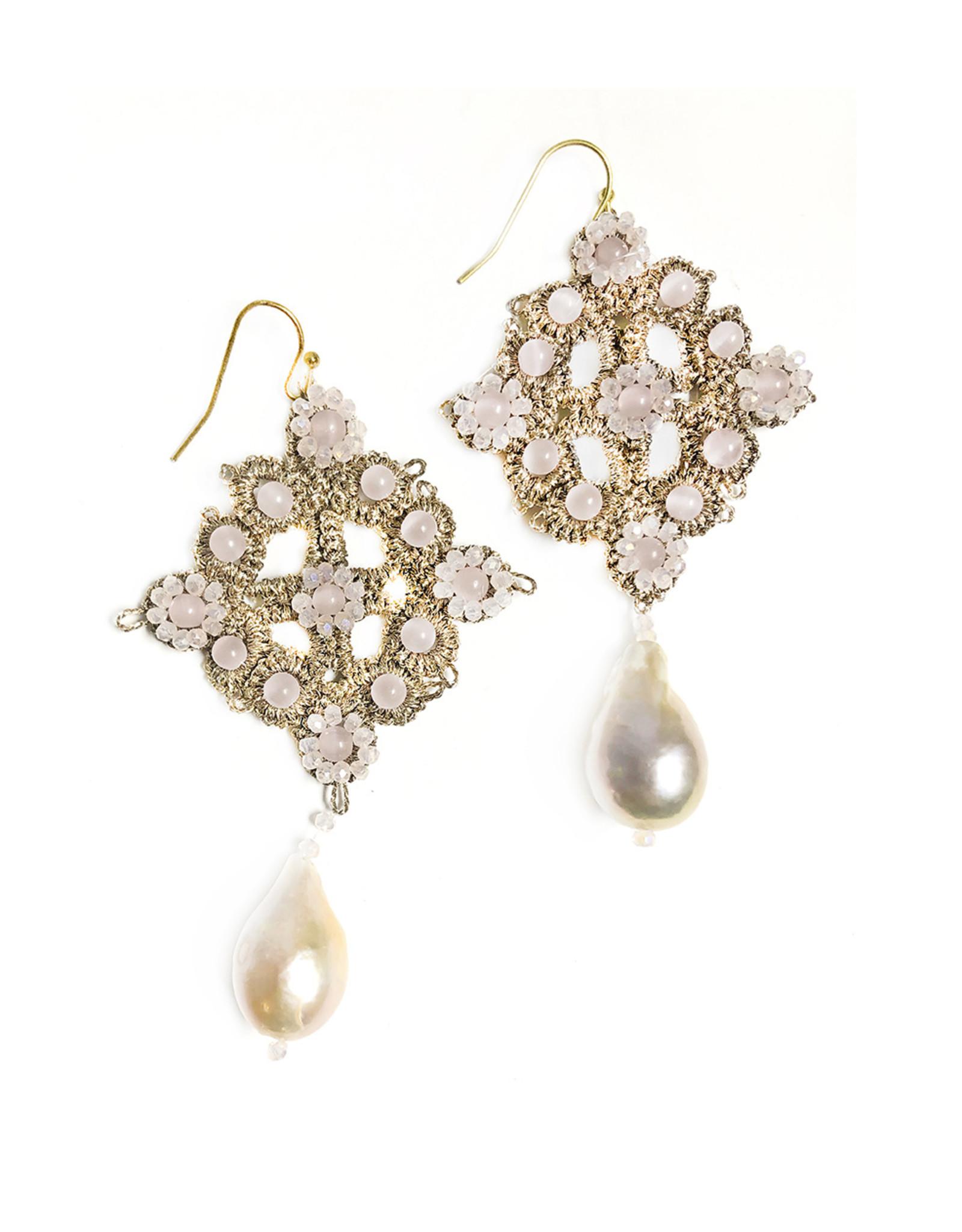Agata Treasures Ortigia soft pink pendant earrings