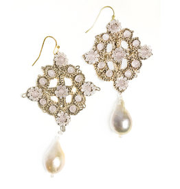 Agata Treasures Ortigia soft pink pendant earrings