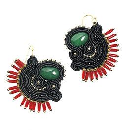Agata Treasures Tania black, red coral beads and malachite earrings