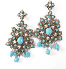 Agata Treasures Ibla blue turquoise and pearl earrings