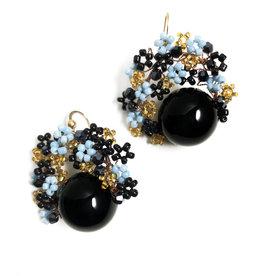 Agata Gemma turquoise, gold and black onyx earrings
