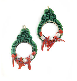 Agata Treasures Monet emerald, red coral and pearl earrings
