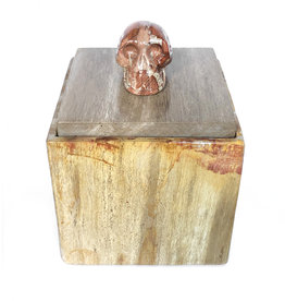 Amanda Jongsma unique piece petrified wood box with multicolored skull
