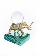 AJvB Golden elephant on malachite base with rock crystal