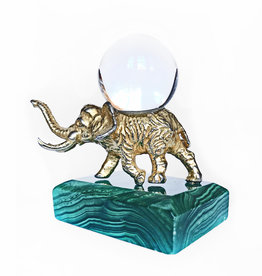 AJvB Golden elephant on malachite base with rock crystal
